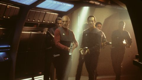 """The storyline of """"Star Trek: First Contact"""" involves a battle between the Federation and the Borg, a collective of cybernetic beings. Patrick Stewart reprises his role as Captain Jean-Luc Picard leading the humans."""