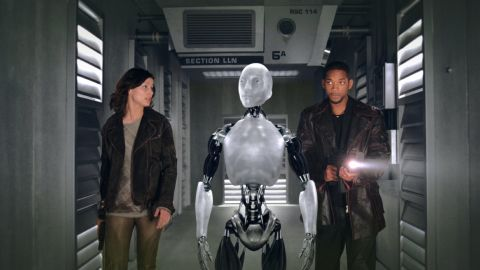 """Will Smith stars as Detective Del Spooner and Bridget Moynahan as Dr. Susan Calvin in """"I, Robot"""" in which a robot named Sonny is suspected of killing a human."""
