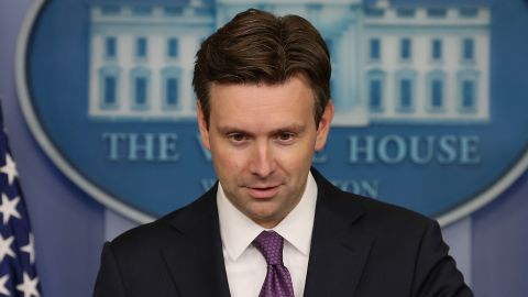 WASHINGTON, DC - SEPTEMBER 08:  White House Press Secretary Josh Earnest speaks to the media during his daily briefing in the Brady Briefing Room, September 8, 2014 in Washington, DC. Secretary Earnest spoke on several topics including the situation in Syria and Iraq regarding the terrorist group ISIS or ISIL.  (Photo by )