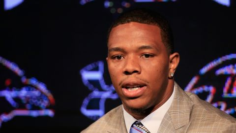OWINGS MILLS, MD - MAY 23:  Running back Ray Rice of the Baltimore Ravens addresses a news conference with his wife Janay (not pictured) at the Ravens training center on May 23, 2014 in Owings Mills, Maryland. Rice spoke publicly for the first time since facing felony assault charges stemming from a February incident involving Janay at an Atlantic City casino.  (Photo by Rob Carr/Getty Images)