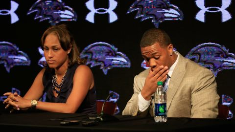 OWINGS MILLS, MD - MAY 23:  Running back Ray Rice of the Baltimore Ravens pauses while addressing a news conference with his wife Janay at the Ravens training center on May 23, 2014 in Owings Mills, Maryland. Rice spoke publicly for the first time since facing felony assault charges stemming from a February incident involving Janay at an Atlantic City casino.  (Photo by Rob Carr/Getty Images)