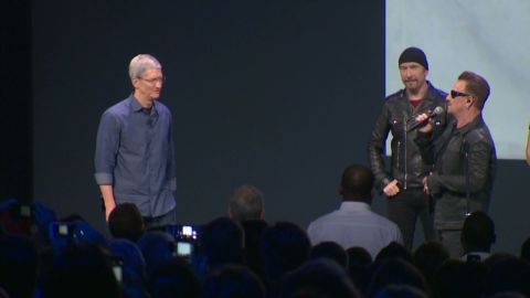 """Digital copies of U2's new album, """"Songs of Innocence,"""" were given to all 500 million iTunes customers. Apple automatically sent it to active iTunes accounts, and for those whose settings allowed it, the album was automatically downloaded, causing a social media storm among users who felt way the album was distributed was invasive."""
