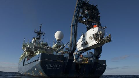 Throughout the years, Alvin has been faithfully assisted at sea by its support vessels. Since 1997, R/V Atlantis, pictured here lowering Alvin into the Gulf of Mexico, has been carrying the different crews to various locations around the world.
