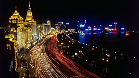 The Bund refers to Shanghai's waterfront on the west bank of the Huangpu River. The commercial strip is a legacy of the city's former British rulers.