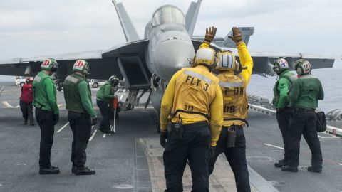 140901-N-TP834-027 PACIFIC OCEAN (Sept. 1, 2014) An F/A-18E Super Hornet from the Sunliners of Strike Fighter Squadron (VFA) 81 taxis onto a catapult prior to launching from the flight deck of the aircraft carrier USS Carl Vinson (CVN 70). Carl Vinson is underway in the U.S. 3rd Fleet area of responsibility. (U.S. Navy photo by Mass Communication Specialist 2nd Class John Philip Wagner, Jr./Released)
