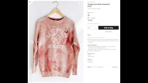 """After coming under criticism, Urban Outfitters has <a href=""""http://money.cnn.com/2014/09/15/news/companies/urban-outfitters-kent-state/"""">stopped selling</a> a """"vintage"""" Kent State sweatshirt that has what appears to be simulated blood splatter on it. Kent State was the site of a <a href=""""http://www.cnn.com/2014/05/02/us/gallery/kent-state-shooting/"""">1970 shooting</a> that left four students dead and nine wounded during a Vietnam War protest. Urban Outfitters <a href=""""https://twitter.com/UrbanOutfitters/status/511515053791907840"""" target=""""_blank"""" target=""""_blank"""">issued an apology</a> via Twitter and said the red stains were not meant to resemble blood."""