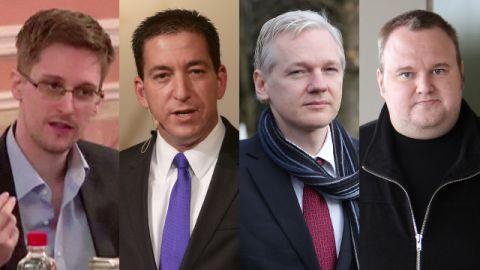 "Edward Snowden, Glenn Greenwald and Julian Assange all spoke at Kim Dotcom's ""Moment of Truth"" event."