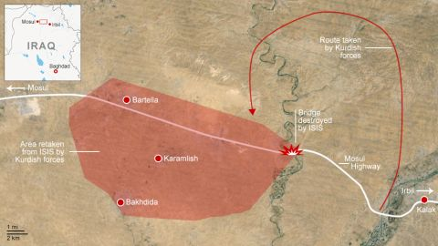 Map: Kurdish forces retake ISIS area