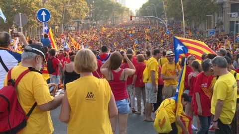Catalans march in Barcelona on September 11, 2014, to celebrate their National Day