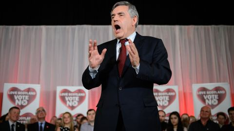 Former British Prime Minister Gordon Brown speaks at a rally against the vote for Scottish independence in Glasgow, Scotland, on Wednesday, September 17.
