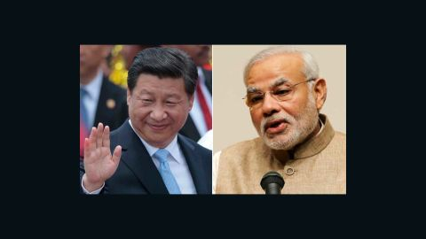 Chinese President Xi Jinping (left) is in India to meet Indian Prime Minister Narendra Modi.