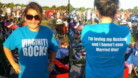 """Eighth-grader Chloe Rubiano of Ramay Junior High in Fayetteville, Arkansas, was asked to change out of a shirt that read """"Virginity Rocks."""" The school's superintendent said references to sexuality on clothing are inappropriate for school. Chloe's mother wrote in a post on Facebook: """"Virginity is not a dirty word. Wouldn't it be great if it weren't treated as such?"""""""