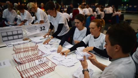 Ballot papers are counted in the Aberdeen Exhibition and Conference Centre in Aberdeen, on September 18, 2014, immediately after the polls close in the referendum on Scotland's independence. The question for voters at Scotland's more than 5,000 polling stations is 'Should Scotland be an independent country?' and they are asked to mark either 'Yes' or 'No'. The result is expected in the early hours of Friday.AFP PHOTO / BEN STANSALL        (Photo credit should read )