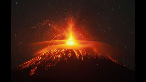 Mount Slamet spews lava and gas during an eruption in Brebes, Indonesia, in September 2014.