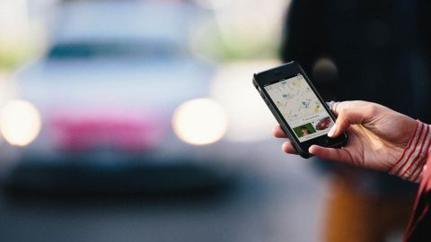 Interface for the Lyft app, a sharing platform for taxis