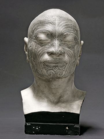 A bust made around 1840 displays Maori tattoos. It was made by Pierre Marie Dumoutier, perhaps the first scientific participant in a colonial expedition to study physical anthropology.