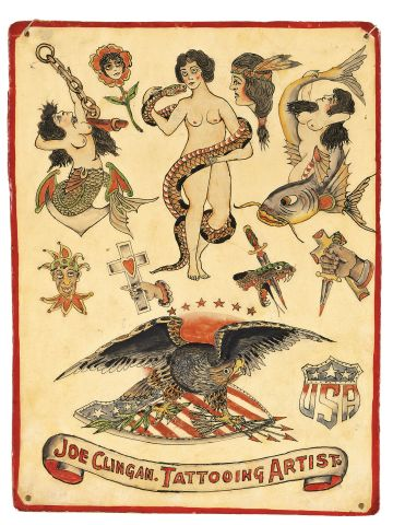 """A 1920s American tattoo """"flash"""" or page of design ideas."""