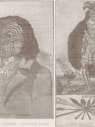 """These engravings of fully costumed Maoris from the early 1800s were made by English sailor Barnet Burns, who himself received a full facial tattoo. When he returned to England in 1835, he styled himself as a """"New Zealand chief."""""""