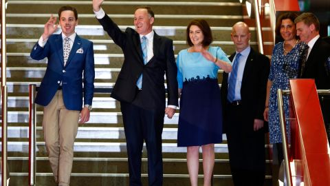 Prime Minister John Key arrives with his wife and son to deliver his victory speech at Viaduct Events Centre on September 20, 2014 in Auckland.