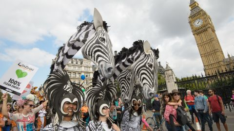 Thousands of people joined the march from the Embankment via Whitehall to the Houses of Parliament in central London.