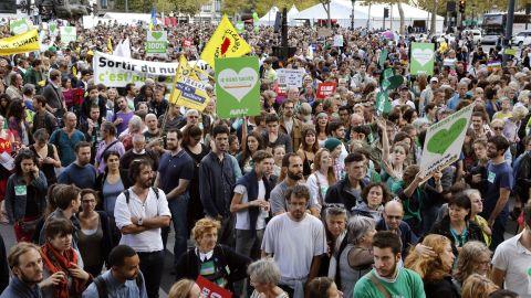 Demonstrators gather in Place de la République in Paris.
