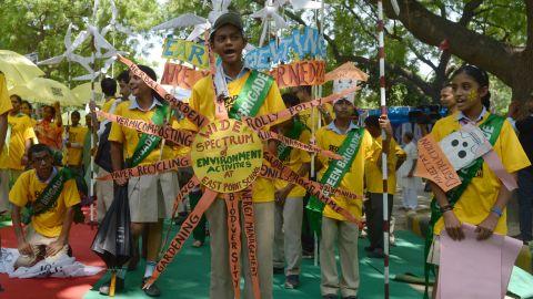 Indian schoolchildren take part in a march in New Delhi.