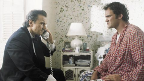 """Harvey Keitel plays Winston """"The Wolf"""" Wolfe, a fixer. Here he appears with the film's writer-director Quentin Tarantino, who plays Jimmie Dimmick in the movie."""