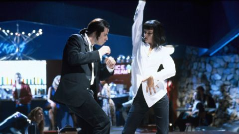 """""""Pulp Fiction"""" revived the career of John Travolta, who had faltered in Hollywood after becoming a pop culture phenomenon in films such as """"Saturday Night Fever"""" and """"Grease."""" He revisits his dancing skills in the Tarantino film in this scene where he takes Thurman out for a night on the town."""