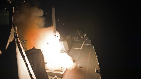 The USS Arleigh Burke, a guided-missile destroyer with the U.S. Navy, launches Tomahawk missiles in the Persian Gulf on September 23.