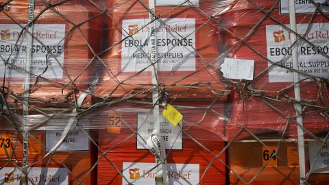 Supplies wait to be loaded onto an aircraft at New York's John F. Kennedy International Airport on September 20, 2014. It was the largest single shipment of aid to the Ebola zone to date, and it was coordinated by the Clinton Global Initiative and other U.S. aid organizations.