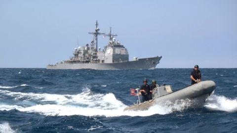 The guided-missile cruiser USS Philippine Sea, operating in international waters in the North Arabian Gulf, launched Tomahawk cruise missiles used against ISIS targets in Syria in some of the initial strikes on ISIS. The ship has a displacement of 9,589 tons and carries a crew of 370.