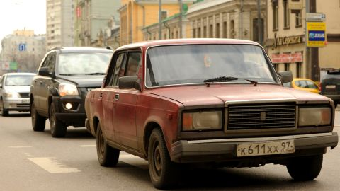 The Finn's first car was also red but not quite as fast. It was an iconic Lada, manufactured in Russia -- as shown in this file photo.