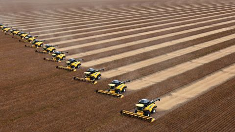 """<a href=""""http://ipcc.ch/report/ar5/wg2/"""" target=""""_blank"""" target=""""_blank"""">A U.N. panel found in March</a> that climate change -- mostly drought -- is already affecting the global agricultural supply and will likely drive up<strong> </strong>food prices. Here, in 2010, workers on combines harvest soybeans in northern Brazil. Global food experts have warned that climate change could double grain prices by 2050."""