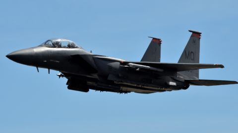 A F-15E Strike Eagle from the 391st Fighter Squadron takes off in July during a mission at Joint Base Pearl Harbor-Hickam in Hawaii. The F-15E Strike Eagle can carry more than 23,000 pounds of payload for air-to-ground and air-to-air combat. The plane has been in the Air Force inventory for three decades and is expected to be operational until at least 2035.