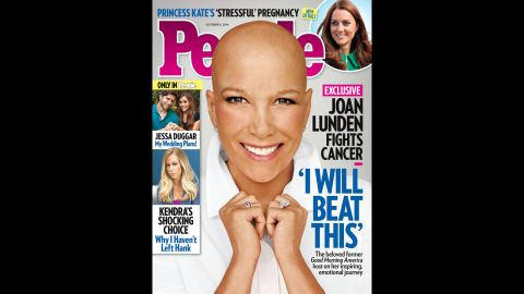 """When former """"Good Morning America"""" host Joan Lunden learned she was facing an """"aggressive"""" form of breast cancer, she was determined to face her health battle head on. Knowing she would need chemotherapy, Lunden decided to remove her familiar blond hair before her locks could be affected by the treatment. """"You know it's going to happen one of these days and you are wondering how or when,"""" <a href=""""http://www.people.com/article/joan-lunden-bald-reveal-breast-cancer"""" target=""""_blank"""" target=""""_blank"""">Lunden explained to People magazine</a>, which she posed for without her wig in September. """"So I just owned it."""""""