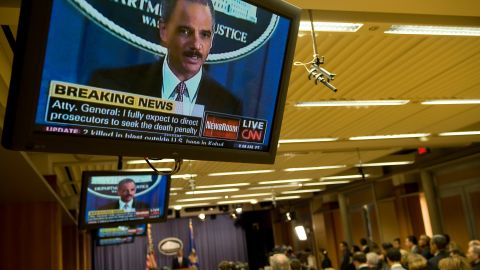 Holder announces in November 2009 that five men accused of the September 11 terror attacks would be tried in a New York civilian court. He said the government would seek the death penalty against Khalid Sheikh Mohammed and four others.