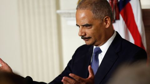 WASHINGTON, DC - SEPTEMBER 25: Attorney General Eric H. Holder Jr. announces his resignation today, September 25, 2014 in Washington, DC. President Obama said that Mr. Holder will remain in office until a successor is nominated and confirmed. (Photo by Win McNamee/Getty Images)