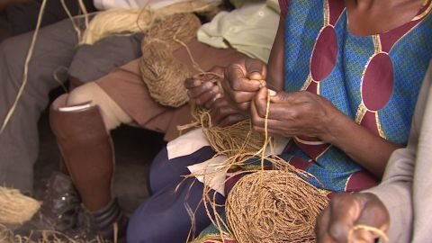 Once the fibers are weaved together the co-operative sells the rope to clients in bulk.