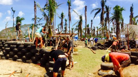 Construction of earthships uses recycled tires as its core.