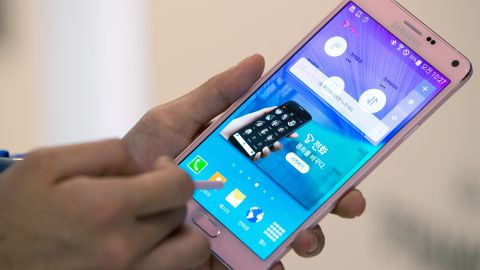 """Samsung released their latest """"phablet,"""" the Galaxy Note 4, which has a vivid, 5.7-inch screen and a fingerprint scanner, and comes equipped with a stylus."""