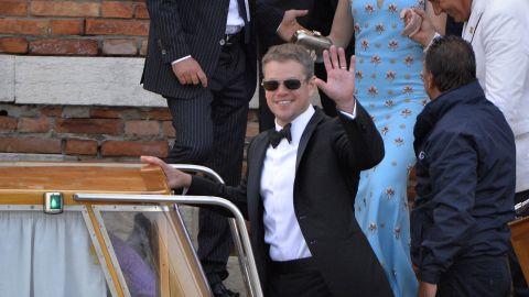 Actor Matt Damon boards a taxi boat at the Hotel Cipriani.