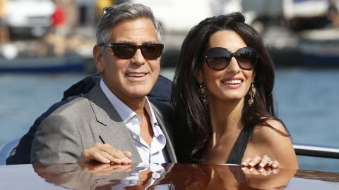 Clooney and Alamuddin arrive in Venice on Friday, September 26.