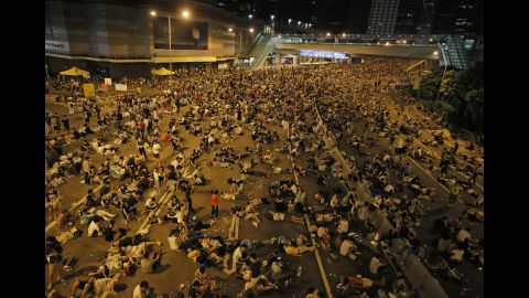 Protesters brought Hong Kong's financial district to a halt.