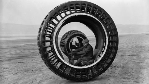 """Early experiments with one-wheeled transport included the """"dynasphere"""" -- an electronically powered monowheel from the 1930s. Unfortunately the device had a tendency to """"gerbil,"""" sending the driver racing around the wheel frame if the device braked too suddenly."""