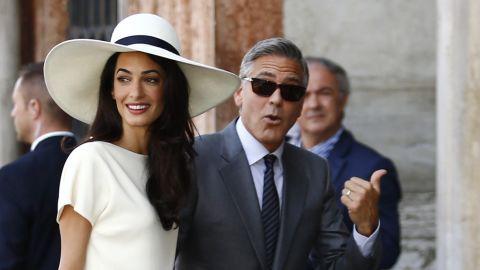 George Clooney and  Amal Clooney, née Alamuddin.
