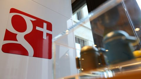 The Google Plus logo is seen in the company's offices behind Android toys on Aug. 21 in Berlin, Germany.