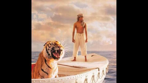 """<strong>""""Life of Pi"""":</strong> Yann Martel's <a href=""""http://edition.cnn.com/2002/SHOWBIZ/books/10/21/yann.martel/index.html"""">Booker Prize-winning novel</a> concerns the voyage of a spiritually minded teenage boy drifting across the Pacific with a large tiger named Richard Parker -- or does it? Ang Lee's 2012 film made Martel's """"unfilmable"""" novel into an Oscar-nominated success."""