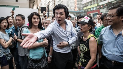 An anti-Occupy shouts at a pro-democracy demonstrator on October 3.