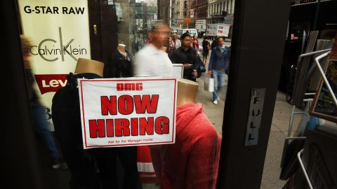 NEW YORK, NY - OCTOBER 02:  A notice in a store window announces a retail job opening  on October 2, 2014 in New York City. In a sign that the labor market continues to improve, new numbers released on Thursday show that the number of Americans filing new claims for unemployment benefits fell last week. The Labor Department said on Thursday that claims for state unemployment benefits fell by 8,000 to a seasonally adjusted 287,000 in the week ended Sept. 27.  (Photo by Spencer Platt/Getty Images)