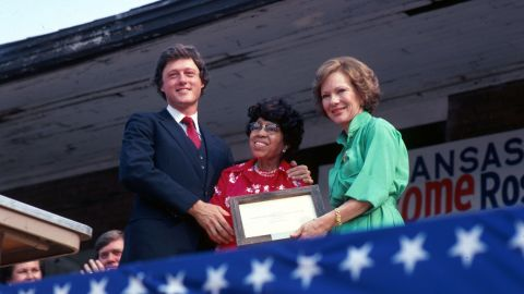 Clinton was elected governor of Arkansas in 1978. He is seen here with civil rights activist Rosa Parks and first lady Rosalynn Carter in July 1979.